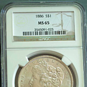 1886 Morgan Silver Dollar Graded MS65 by NGC