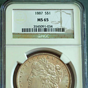 1887 Morgan Silver Dollar Graded MS65 by NGC