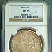 1898 O Morgan Silver Dollar Graded MS65 by NGC