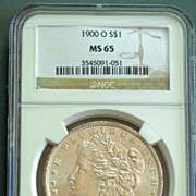 1900 O Morgan Silver Dollar Graded MS65 by NGC