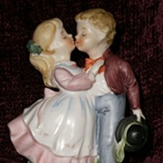 SALE Vintage Aladdin porcelain TV lamp, night light - CUTE girl and boy doll figurine