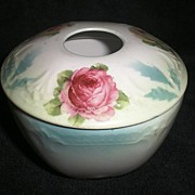 SALE Vintage German Porcelain Hair Receiver with rose floral motif