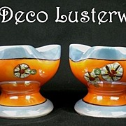 SALE 2 Vintage Art Deco Lusterware Noritake Chambersticks � HTF Hand Painted Design