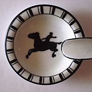 SALE Vintage Noritake Art Deco Ashtray with figural horse and rider