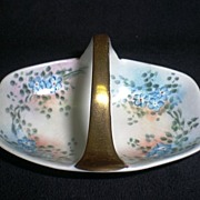 SALE Old Nippon Noritake Basket with Hand Painted Flowers ca 1900