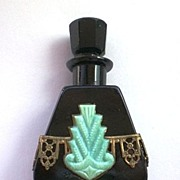 SOLD Vintage Art Deco Black Czech Perfume Bottle, Jeweled Metal Fitting
