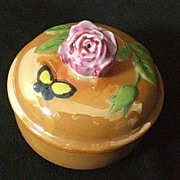 SALE Vintage Art Deco Lusterware Powder Jar, Trinket Box with Figural Rose Finial ca 1930
