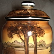 SALE Vintage Noritake TIM tobacco jar Humidor, hand painted golden pond scene