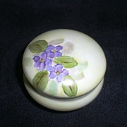 SALE Vintage Nippon Noritake Rouge or Powder Jar - Artist Signed with HP Violets ca 1910