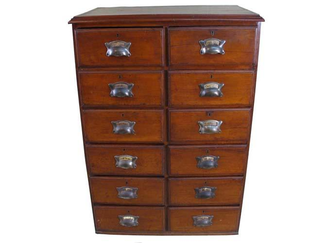 Walnut and Pine Twelve Drawer Collectors Cabinet.