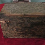 "1920's Paper Covered 16""x10""x10"" Doll Trunk with Insert Tray"