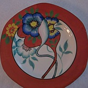 Red/Orange Hand Painted Flower Decorated Lustre Plates, Set of 6