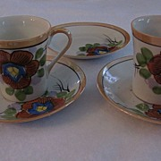 Pair Hibiscus Flower Japan Lustre Demitasse Cups and Saucers