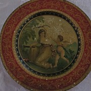 Vienna Art Plate, Tin, Allegorical, Woman Taking Bow From Cupid