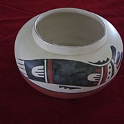 Hopi Polychrome Bird Flat Bowl, American Indian Pottery, Signed TL