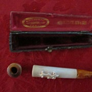 French Amber and Ivory Cigarette Holder in Violin Case