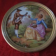 "Limoges Fragonard Hand Painted Porcelain 5 1/2"" Plaque"