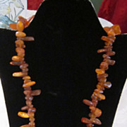 "Vintage Large Chunky Amber Chip 26"" Necklace"