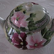 Hand Painted Japan Flowered Teapot with Moriage Bands