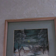 Signed Watercolor, Cabin By Stream On Winter Night