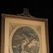 French Engraving, &quot;L'Arivee Du Courier&quot;, Original Frame