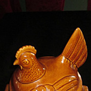 California Pottery Brown Glazed Hen On Nest Casserole Dish