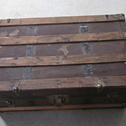 Small Canvas, Wood Slat, Black Metal Steamer Trunk