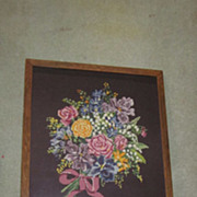 English Oak Needlepoint Fire Screen  Multi Colored Flower Bouquet