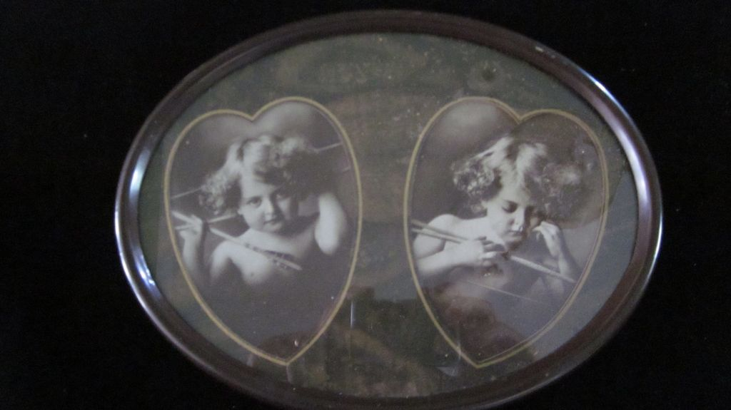 Cupid Awake/Cupid Asleep in Oval Frame with Heart Mat