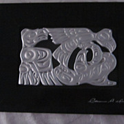 Northwest Coast Haida Artist Silver and Black Carved Totem Plaque