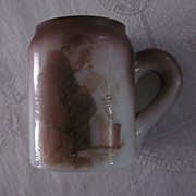 Victorian Souvenir Milk Glass Tankard Match Holder with Friar