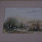 Elizabeth Weleby Watercolor, Egrets In Corkscrew Swamp
