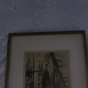 Edgar Chahine Etching/Aquatint, &quot;St. Germain L' Auxerrois, Paris&quot;