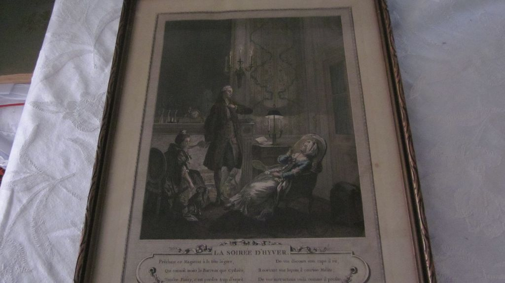 Hand Colored French Print &quot;La Soiree D'Hyver&quot;, Freudeberg