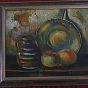 Gaston Still Life Oil Painting, Pan, Pitcher, and Fruit