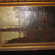 Original Framed Oil on Canvas, FB Wennel., 1917, Lakeside Cabin