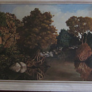 Framed Oil Painting, Autumnal Riparian Landscape, by Brennan