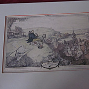 Hand Tinted Stone Lithograph, &quot;Der Schoene Blick&quot;, H. Stockmann