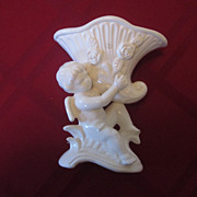 Cupid Holding Horn White Vase, Japan
