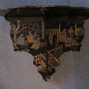 Chinoiserie Papier Mache Black Lacquer Wall Shelf w/Village Scenes