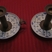 Blue Onion Variant Porcelain and Brass Push Up Candlestands, Pair