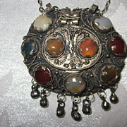 Vintage Tribal/Ethnic Pendant/Box with Cabochon Stones, India