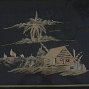 Oriental Woven Bamboo Waterfront Scene
