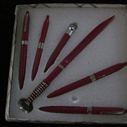 Mid Century Boxed Set of 6 Red Plastic Ball Point Pens