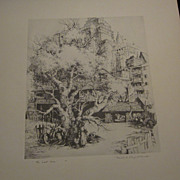 Mildred Bryant Brooks, 1901-1995, Original Etching &quot;The Last Tree&quot;