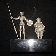 Don Quixote, Sancho Panza Silver Plated Figurines