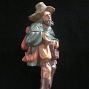 Hand Carved Polychrome Wood Carving of a Peddler