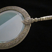 Vintage Indian Brass and Beveled Glass Hand Mirror