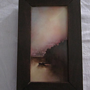 "Hudson River School Oil Painting On Tile, Signed ""E. L. B."","