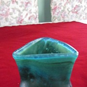 Green Iridescent Triangular Pinched Side Vase